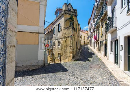 At the Alfama district in Lisbon
