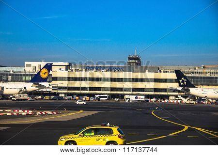 International Frankfurt Airport, The Busiest Airport In Germany On Blue Winter Sky Background