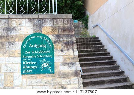 Sign Hiking Path To Schlossbastei And Castle Ruins Of Schomberg In Bad Schandau, Saxon Switzerland