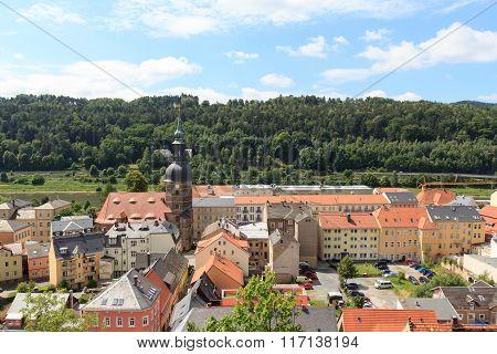 Cityscape Of Bad Schandau With St. John's Church In Saxon Switzerland