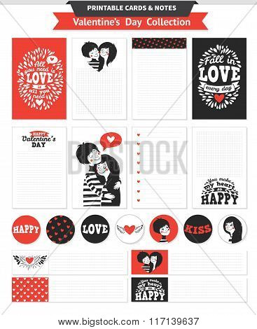 Printable set with couple in love and lettering.