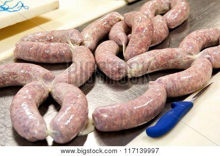 Tray Of Fresh Italian Salami Sausage