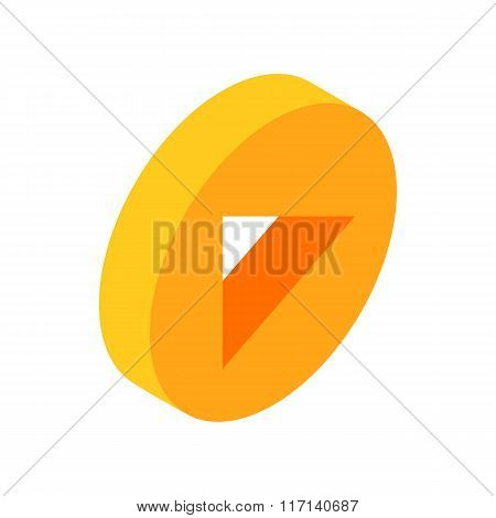 Yellow round play button isometric 3d icon