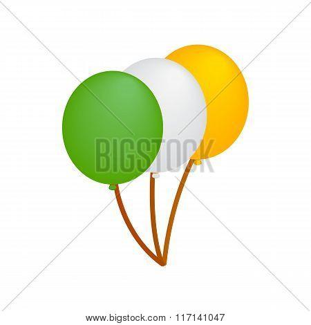 Balloons in irish colors isometric 3d icon