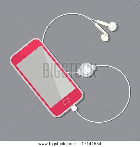 Pink Smartphone with plugged in headphones. Vector illustration.