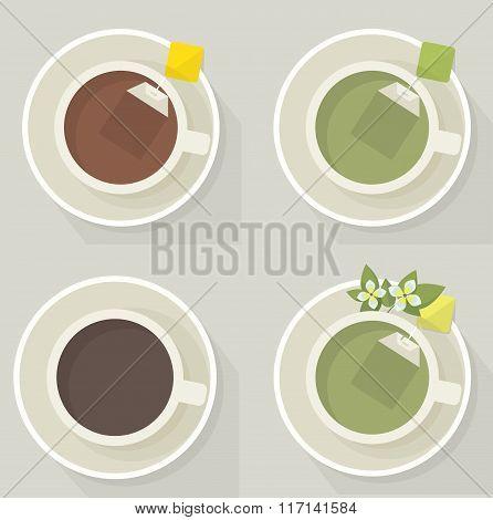 Hot drinks assortment: tea and coffee. Flat lay.