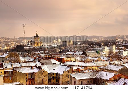Panoramic view on the roofs in old european city, Lviv, Ukraine