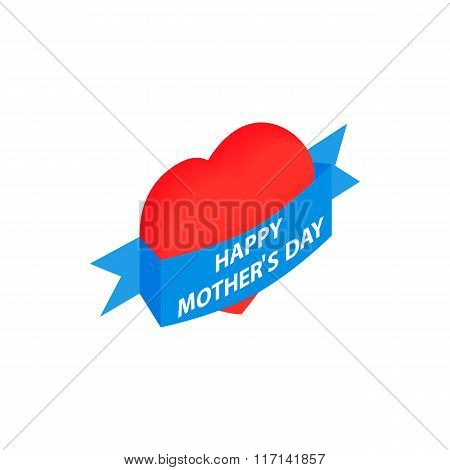 Mother Day Heart with blue ribbon isometric icon