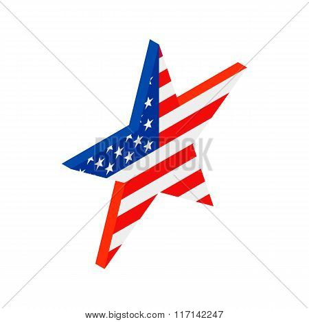 Star in the USA flag colors isometric 3d icon