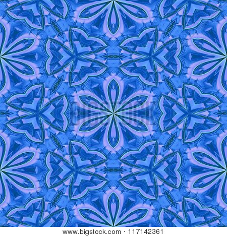 Floral Blue Abstract Oriental Pattern Made Seamless