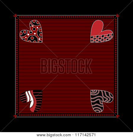 Black and dark red background with hearts
