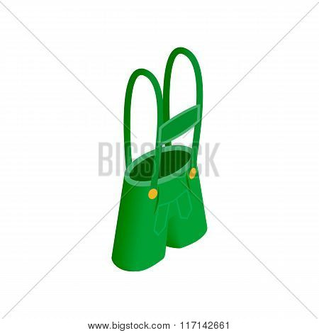 Short green pants of Leprechaun sometric 3d icon