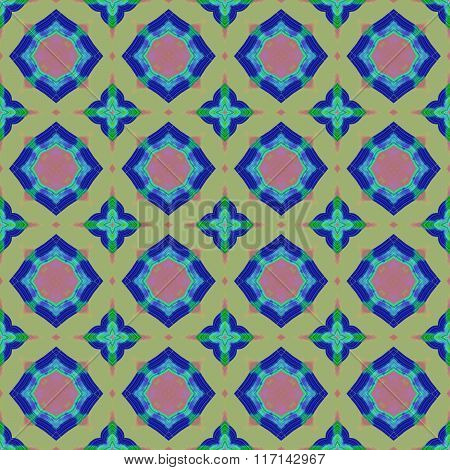 Seamless Colorful Oriental Abstract Carpet Pattern With Circular And Star Shapes