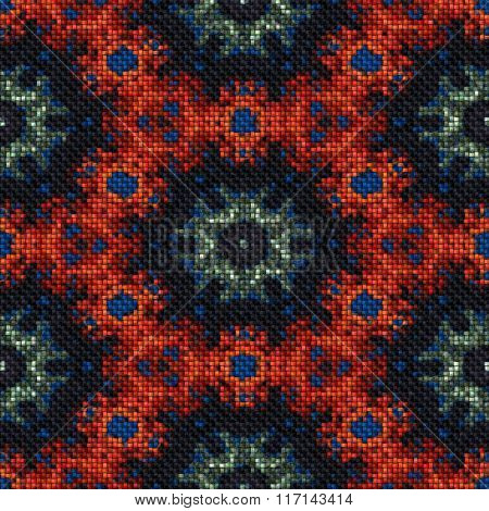 Abstract Oriental Knitted Pattern Made Seamless