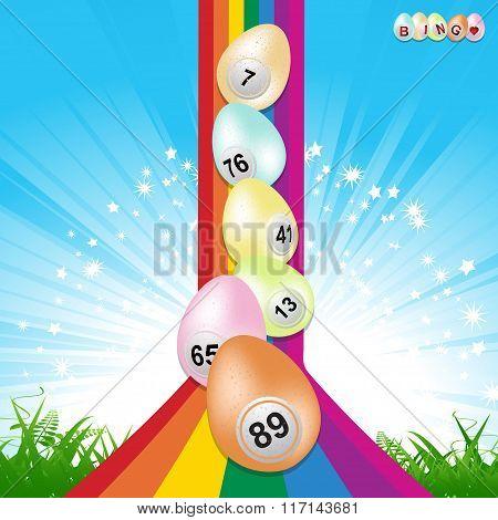 Easter Bingo Eggs And Rainbow