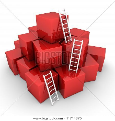 Batch Of Shiny Red Boxes - Climb Up With Bright White Ladders