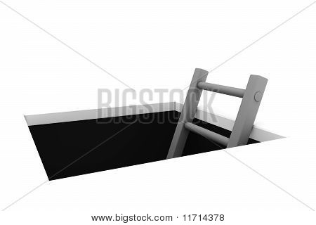 Salga del orificio - escala de gris