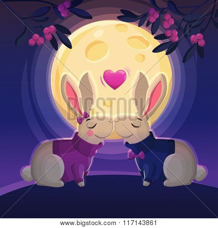 Two kissing rabbits on the moon background.