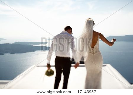 Handsome Happy Groom And Bride In White Dress Holding Hands Sea And Islands Background