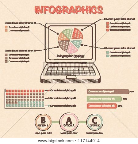 Info graphic With Laptop And Design Elements