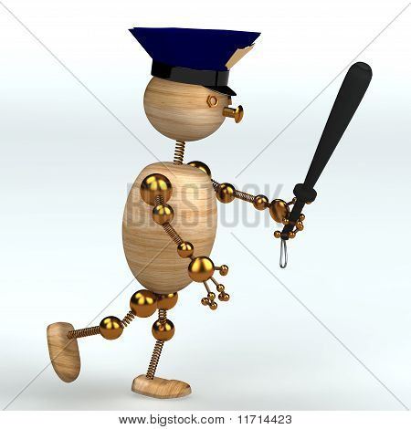 Wood Man Police Running