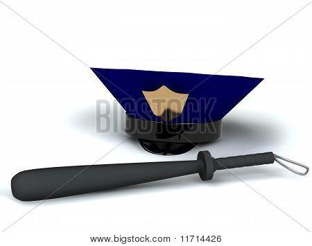 Club y sombrero de policía