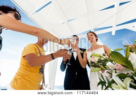 Newlywed Couple Drinking Champagne In Glasses With Guests Closeup Sea Background