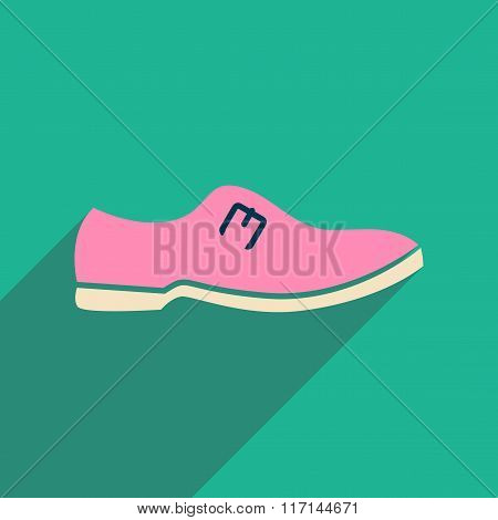 Flat icon with long shadow men's shoes