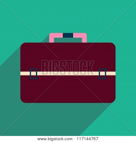 Flat icon with long shadow business bag