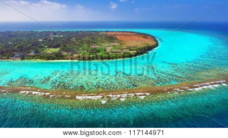 Beautiful Tropical Island From Above. Maldives, Whole Island Thoddoo.