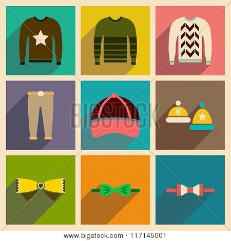 Modern flat icons vector collection with shadow Men Clothes
