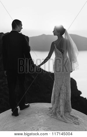 Handsome Groom And Beautiful Bride Hugging On Church Roof At Sunset B&w