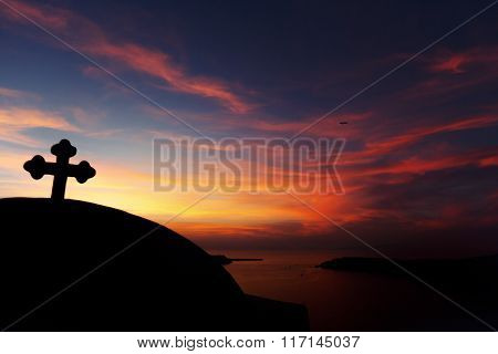 Church Cross Silhouette At Sunset Purple Sky And Sea Backrgound, Landscape