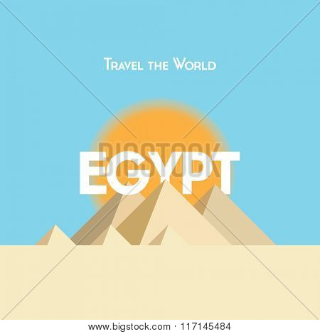Flat style travel poster on Egyptian theme, showing pyramids, sunshine and sand.