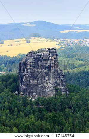 Panorama With Mountain Rock Falkenstein Seen From Schrammstein Viewing Point In Saxon Switzerland