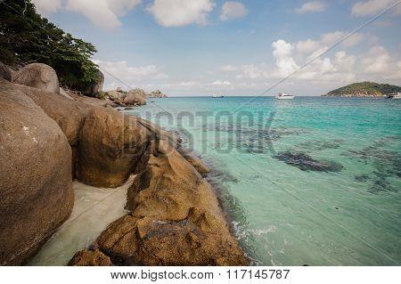 Beautiful Crystal Clear Sea At Tropical  Similan Island,  Thailand