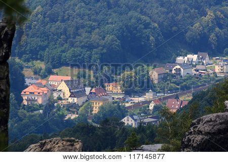 View Towards Krippen, District Of Bad Schandau In Saxon Switzerland