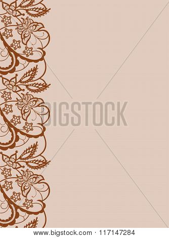 Abstract Lace With Elements Of Flowers Leaves And Butterflies
