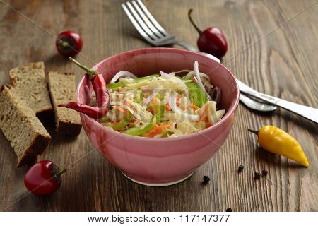 Sauerkraut with onions, carrots and peppers