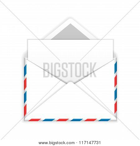 Open envelope with blank sheet of paper flat icon