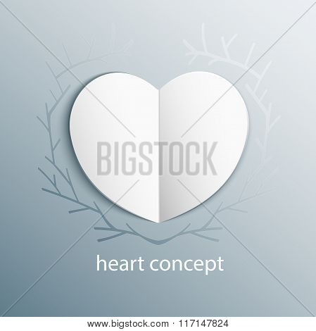 Paper origami heart concept in branch frame. Vector Heart on Frozen glass backround with ice floral