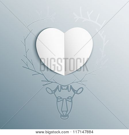 Hipster Paper origami heart concept inside  deer horns. Vector Heart on Frozen glass backround withi