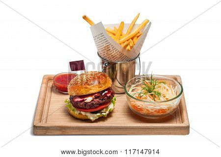 Fast Food And Unhealthy Eating Concept - Close Up Of Hamburger Or Cheeseburger, Deep-fried French Fr