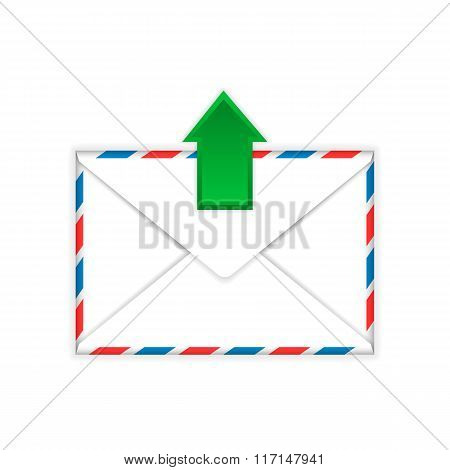 Envelope with outgoing message sign flat icon