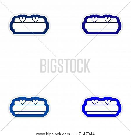 Set of paper stickers on white background bed Honeymoon