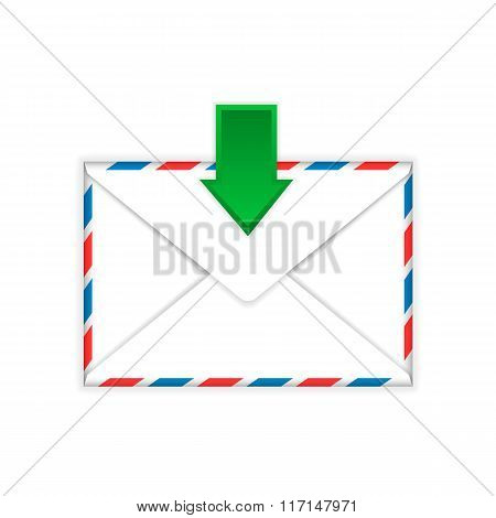 Envelope with incoming message sign flat icon