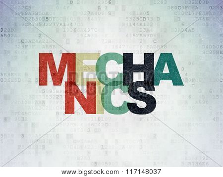 Science concept: Mechanics on Digital Paper background
