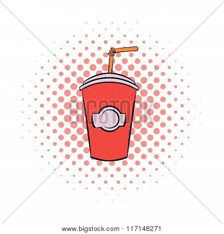 Red cardboard cup with a straw comics icon