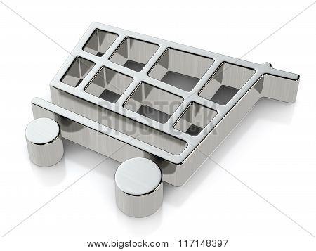 Metallic Shopping Cart Symbol