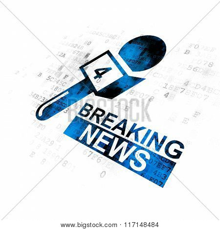 News concept: Breaking News And Microphone on Digital background